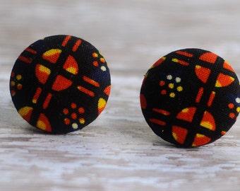 Hypoallergenic Earrings: Large Ankara African wax fabric earrings, orange and black earrings