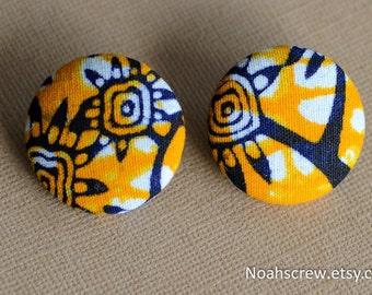 Large Ankara tribal Earrings: Ankara African Wax print, yellow trees