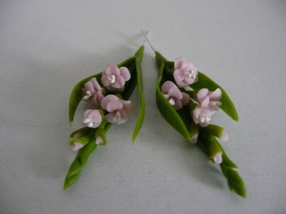 Two Miniature Cold Cast Polymer Clay Gladiolas - Pink