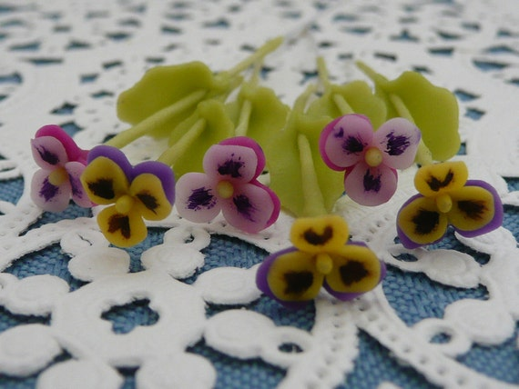 Collection of Six Miniature Cold Cast Polymer Clay Button Pansies