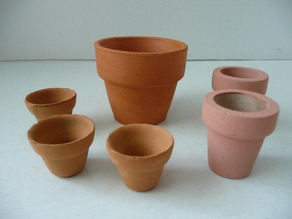 Assortment of Miniature Clay Flower Pots