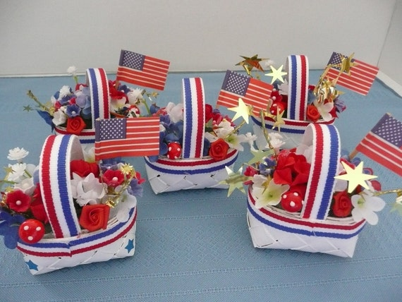 RESERVED FOR AMY - Miniature Wicker Patriotic Flower Basket Decorations