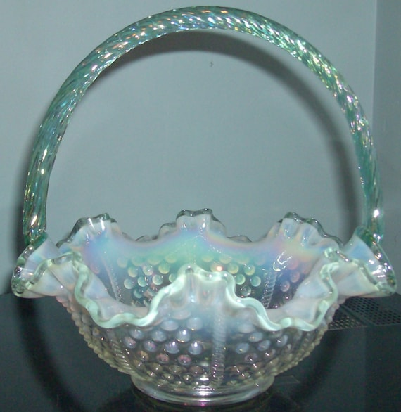 Fenton Opalescent Hobnail Green Crest Basket with Applied Handle-Iridized