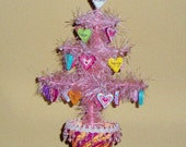 Valentine tree with ornaments, faux feather tabletop tree