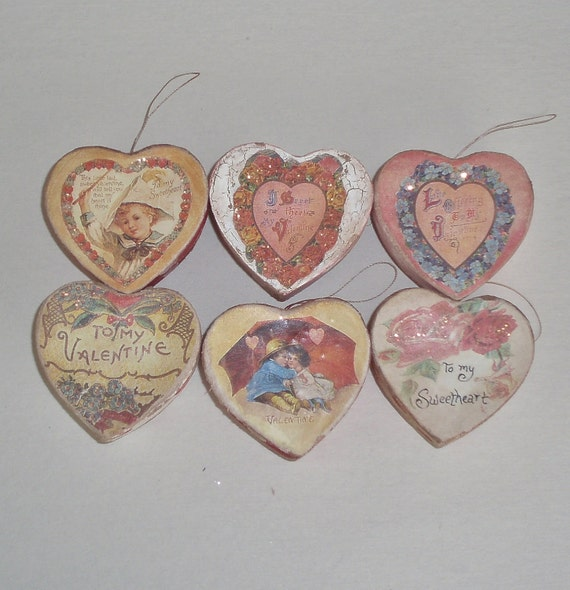 Small Valentine's day heart boxes and ornaments, set of 6, paper mache