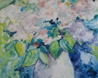 White Lilacs in a Haeger Vase watercolor on Yupo Paper original painting