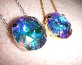 The Northern Lights - Swarovski Aurora Borealis Round Crystal Necklace in Gold or Silver Setting