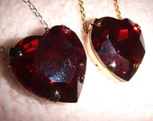 The Red Queen - Swarovski Red Heart Crystal Necklace in Gold or Silver Setting