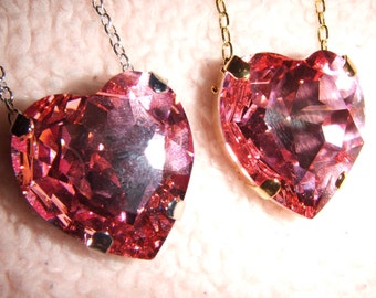 Princess - Swarovski Rose Pink Heart Crystal Necklace in Gold or Silver Setting