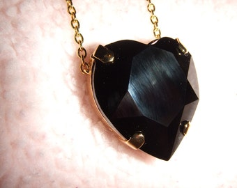 The Evil Queen - Swarovski Black Heart Crystal Necklace in Gold Setting