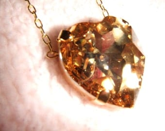 Golden Heart - Swarovski Gold Heart Crystal Necklace in Gold Setting