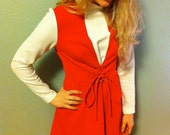 1960s Schoolgirl Red and White Jumper Dress