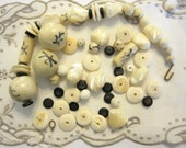 Beads Chunky Ox Bone, Mother of Pearl, Stone, Ceramic & Coral Oriental Salvaged Necklace