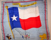 """Vintage Scarf All Silk """"le Roi"""" Texas State The Lone Star Flag Huge 35"""" Square Cowboy Bronco Buster, 1950s Souvenir"""
