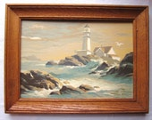 """Vintage Paint by Number of LIGHTHOUSE, Seascape, Seagull 10"""" x 14"""" Complete In 13"""" x 17"""" Wood  Frame"""
