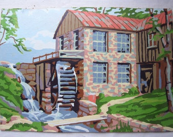 "Vintage Paint by Number - Waterwheel Grain Mill - Unframed Work of Art - 10"" x 14"" Colorful Landscape Retro 1950's"