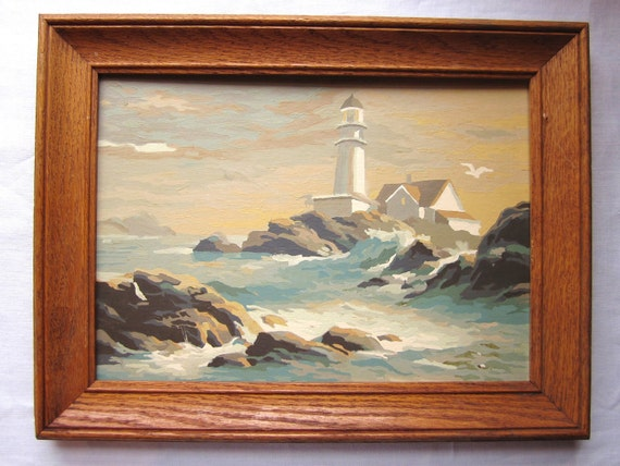 "Vintage Paint by Number of LIGHTHOUSE, Seascape, Seagull 10"" x 14"" Complete In 13"" x 17"" Wood  Frame"