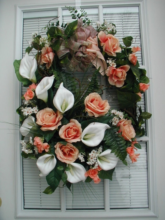 SALE See Shop Announcement Spring Summer White Calla Lilies Peach Apricot Roses Apartment Condo Door Wall Floral Arrangement Wreath