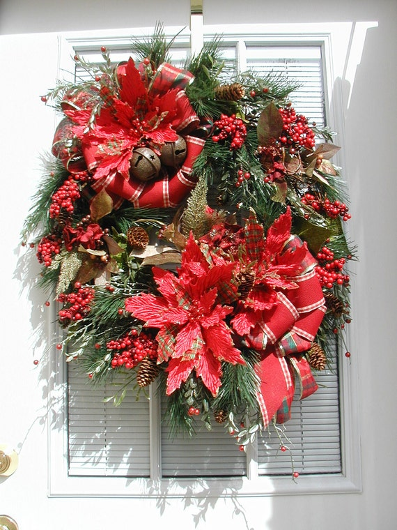 Christmas Red Plaid Poinsettias Two Bows Metal Bells Wall Hanging Floral Arrangement Design Door Wreath