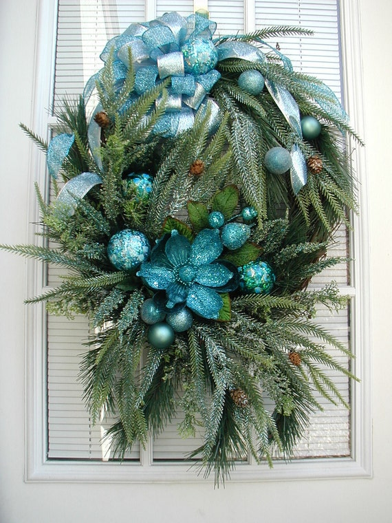Fall Winter Teal Blue Green After Christmas Open Spray Woodsy Arrangement Pine Magnolia Glass Ornaments Door Wreath