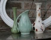 Shabby Chic Set of 3 Flower Vases