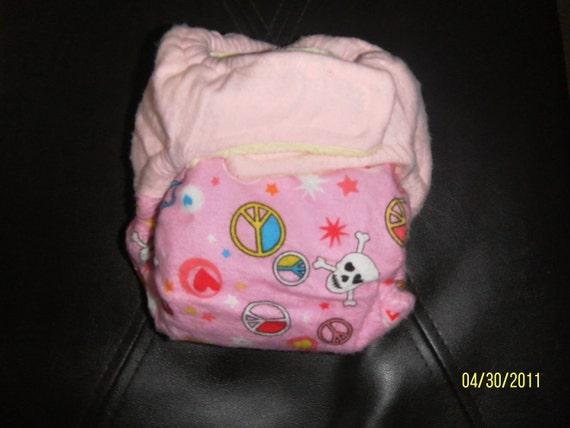 Medium Pink Skulls  AIO cloth diaper