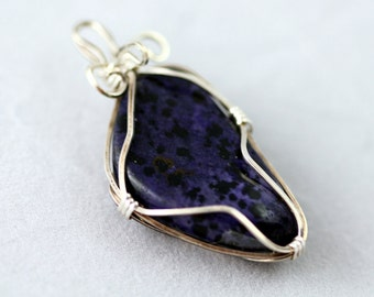 Blue Stone Wrapped Wire  Pendant