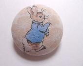 Peter Rabbit Fantastic Fabric Button Brooch