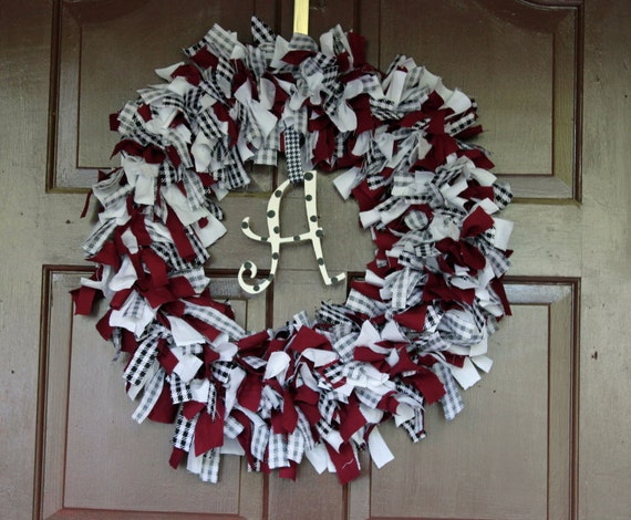 College Team Spirit Rag Wreath - Made to order - colors of your choice