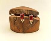 Red Jasper and Silver Dangle Earrings - Southwestern Handmade Signed