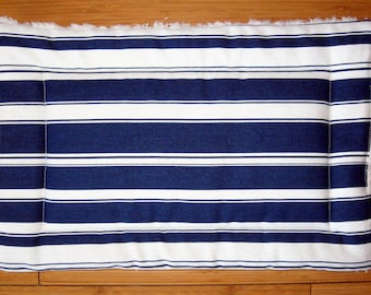 "Dog Crate Mat, Pad, Cushion, XS 12""x18"", Navy and Cream Nautical Stripe"