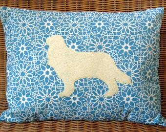 "Appliquéd Cavalier King Charles Pillow with Baby Blue and Creamy Butter Floral Print, 12"" x 16"""