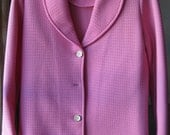 Vintage 60s/70s pink jacket / coat / peacoat - Poly Purl by Hedy Knits of California - will send buttons to replace missing