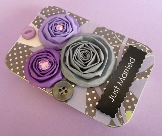 Wedding or Bridal Shower Gift Card Holder/ Keepsake Mini Altered Tin/ Bliss