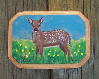 Fawn original art painting, leash or key holder,