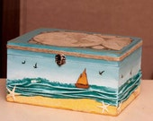 Storage Box Decoupaged - Custom Made to Order - Sea Scenery