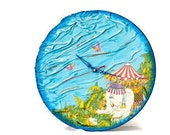 Funny children Clock, Upcycled Vynil record,  Kids wall clock , Nursery decor CIRCUS TIME ohtteam