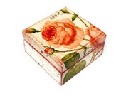 Romantic Trinket Box, Wooden Jewelry Box, Shabby Chic, Pink Coral Roses Wood Box, White and Pink - Wedding box, Proposal Box ohtteam
