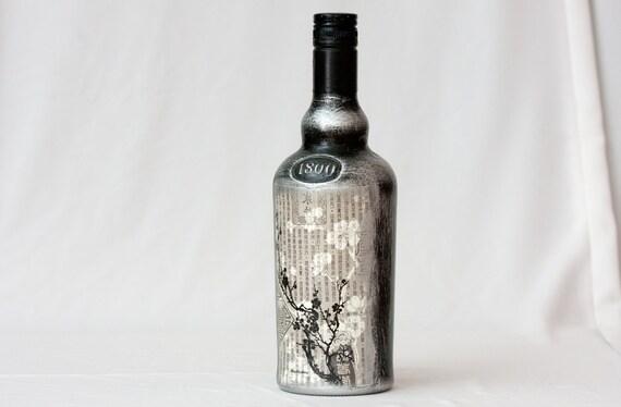 Rustic Bottle, Upcycled Whiskey Bottle, Black White Silver Sakura Cherry Tree, Gift for him - Famouse Grouse upcycled bottle ohtteam