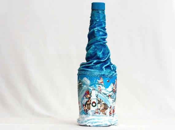 DWARF WORKSHOP Christmas Charm, Winter Table Decor, Winter Decor, Olympian blue, Upcycled Bottle