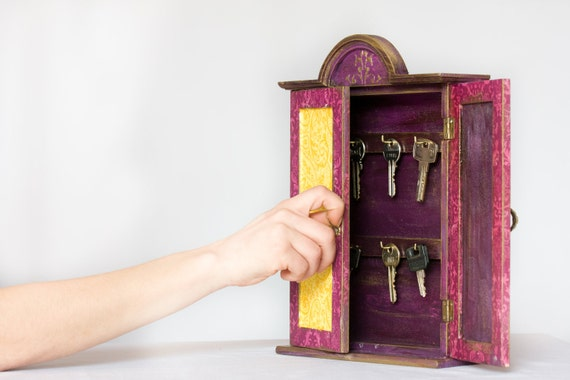 Arabesque Key Box, Rustic Key Hanger, Key cabinet or Wardrobe Purple & Yellow