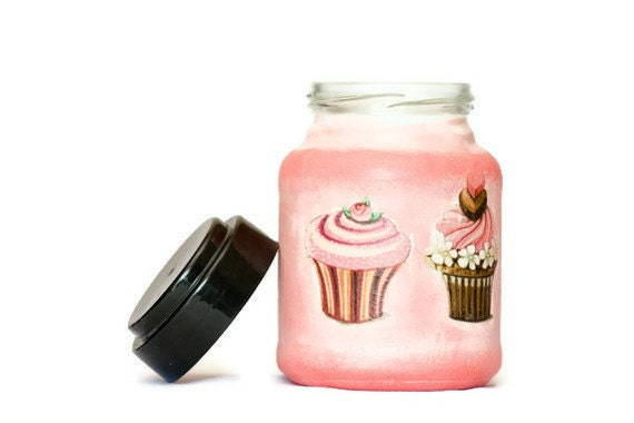 Candy Jar, Pink Decoupage Jar, Cookies Jar, Painted in Pink, Red & White, Perfect Detail for Home Decor ohtteam