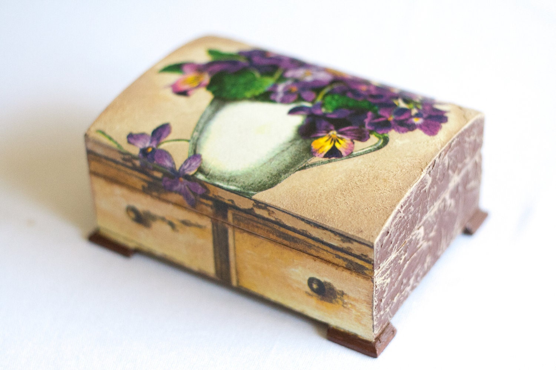 Decoupage Jewelry Box Art box Chic Decor VIOLETS BOUQUET