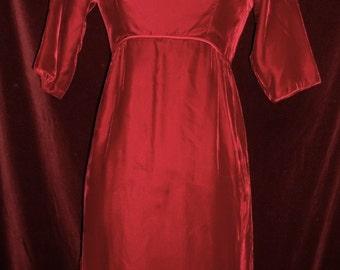 Vintage GORGEOUS Red Velvet 1950's Evening Gown