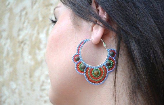 Multicolor Seed Bead Hoop Earrings with Picasso Jasper Stone Beads