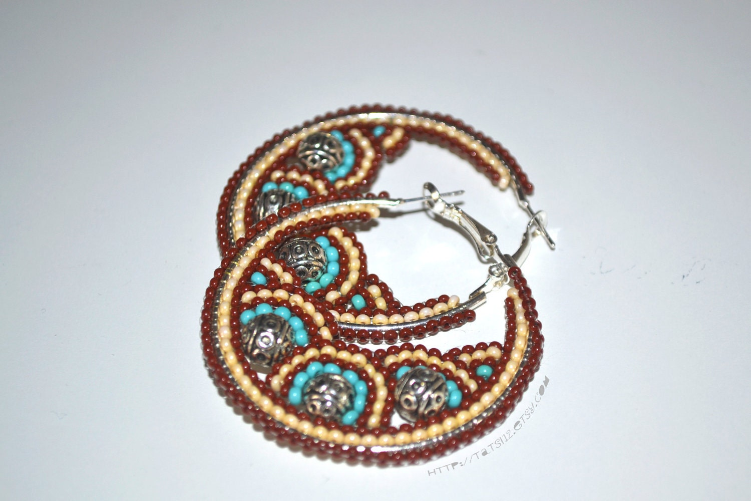 Turquoise Brown Seed Bead Hoop Earrings
