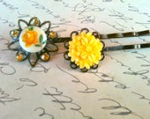 Accessories Hair Bobby Pins Vintage Glass Cabochon and Swarovski Crystal