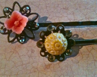 Vintage Bobby Pins, Hair Accessories, Flower Bobby Pins, Hair Pins