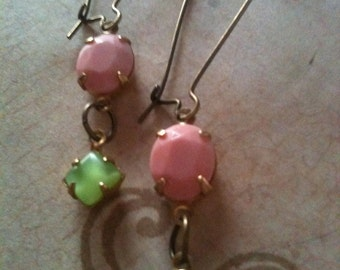 Jewelry Earrings Dangle Light Pink and Mint Green Genuine Vintage Inspired Swarovski