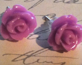 Jewelry, Earrings, Purple Rose Earrings, Cabochon Earrings, Post Earrings, Vintage Style Earrings, Romantic Earrings